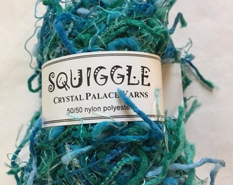 Sale - Crystal Palace Yarns Squiggle #9548 Scuba Dive - Turquoise, Blues, Greens - Great CarryAlong! - PigTail Eyelash