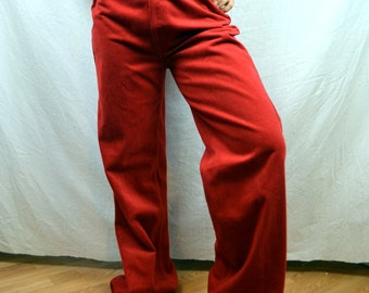 Vintage 1970s 70s Levis Pants Velvety Rust Red High Waisted Bell Bottoms Pants