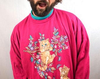 Vintage 90s Pink Cat Sweatshirt