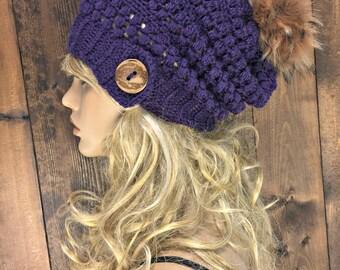 Crochet Slouchy Hat Faux Fur Pom Pom / MERAKI / Featured in the colour Royal Purple