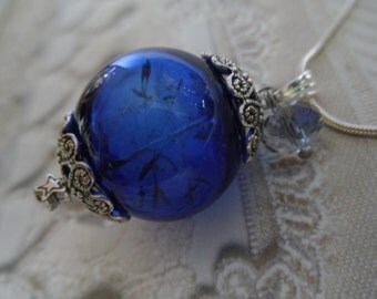 Royal Blue Glass Dandelion Seed Terrarium Reliquary Pendant-Gifts Under 35-Nature's Wearable Art-Ride The Wind-Symbolizes Happiness, Desire