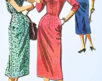 1950s Vintage McCalls Sewing Pattern 3783 Easy Misses Slender Dress Size 32 Bust