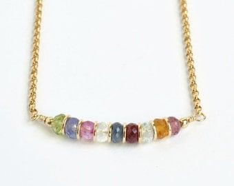 Custom Grandma Necklace / Grandmother Birthstone Necklace / Multi Birthstone Necklace / Mothers Birthstone / 18 Inch Gold Fill