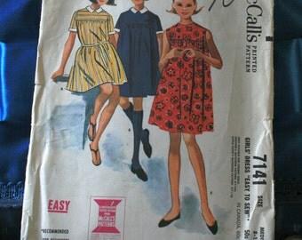 1960s McCall's girls dress pattern 7141 size 8-10