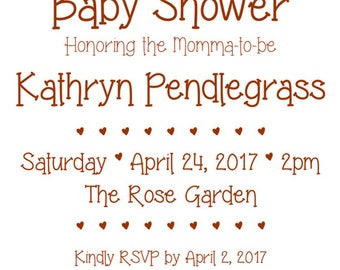 "Shabby Chic 5""x7"" Custom Baby Shower Invitation and Thank You Cards Digital Printable Bundle"