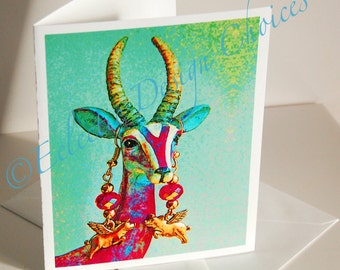 Psychedelic Gazelle Wearing Flying PIg Earrings Blank Note Cards - Set of Four Pop Art Note Cards, Photographic Art Note Cards