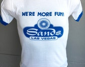 Sands Las Vegas We're More Fun 1980s vintage ringer tee shirt - size small