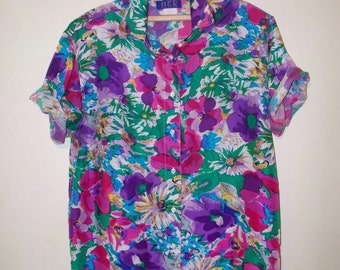 vintage floral bomb silk button front short sleeved blouse