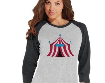 Circus Tshirt - Ladies Carnival Top - Circus Tent Shirt - Grey Raglan Shirt - Womens Shirt - Carnival Birthday Party Outfit - Carnival Party