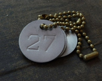 Number 27 TAG, vintage tag, aluminum number tag, sheep, cow, livestock tag
