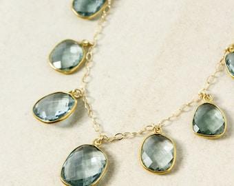 Gold Green Teal Quartz Necklace - Teal Quartz Bib Necklace - 14Kt Gold Filled