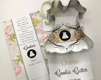 Dress Cookie Cutter,  blessing dress, baptism dress, baby dress, princess, my three white dresses, Gender reveal, It's a girl, baby shower