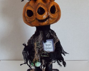 Halloween Pumpkin Voodoo Doll Sculpture Folk Art OOAK Handmade Original Free Shipping
