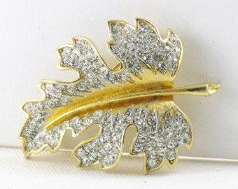 Vintage Lisner Rhinestone Leaf Brooch Pin (B-2-5)