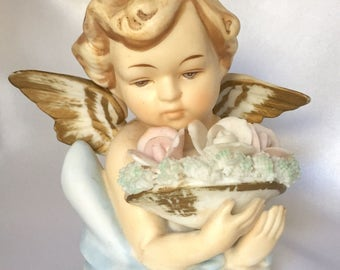 Vintage Norcrest Bisque Porcelain Angel Figurine