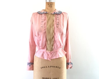 Edwardian Antique Blouse Pink Silk 1910s Vintage Shirt Ecru Lace Pleated Embroidered S