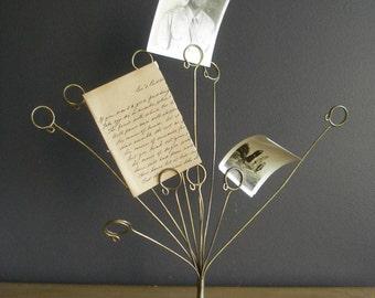 Brass Photo or Card Display - Vintage Mail Holder - Brass Letter Holder