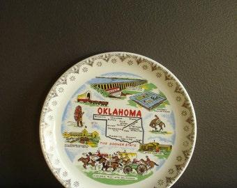 Oklahoma Love - Vintage State Souvenir Plate - Small OK Plate