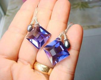 Iolite Blue - Water Sapphire Shaded Glass Bead Earrings, Diamond Shaped, Sterling Silver Earrings, Summer Style, Lovely Luxe Jewels