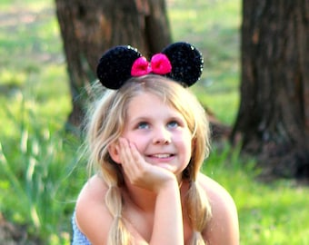 Minnie mouse inspired party favor headband bow ears disneyland birthday hair accessorie Onesize Child-Adult