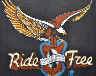 Vintage 80s HARLEY DAVIDSON Motorcycles Ride Free Eagle Sleeveless T Shirt Mens M L