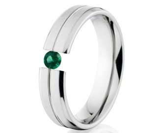 Tension Set Ring, Uniquley You, 5mm,  Titanium Ring, Emerald, 5B1G-XB-Tension