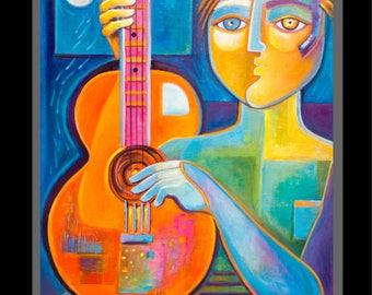 Abstract Original Modern Music Painting Acrylic canvas Guitarist Marlina Vera Contemporary Artwork Original Pop Art musicien peinture Guitar