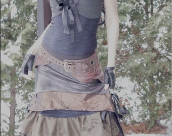 On Hold - Vest - Steampunk - Burning Man - Bohemian - Playa Wear - Gypsy Fashion - Denim Blue - Crop Vest - Boheme - Sexy - Size Small