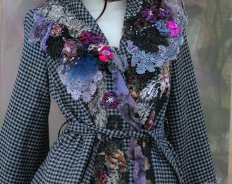 Lady of the manor jacket- wool blend  jacket, altered couture, embroidered and beaded details,old laces