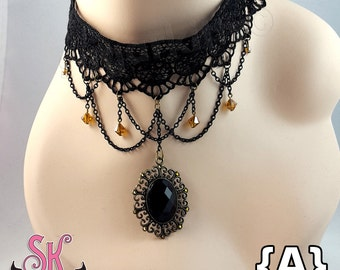 Black Lace Choker Pendant Statement Necklaces - SugarKitty Couture