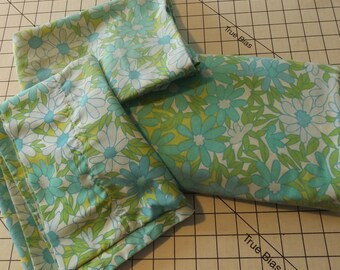 Blue and Aqua Double Flat  Flower Bed Sheet and Two Pillow Cases