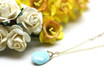 Beautiful, Rare Natural Turquoise Pendant Necklace on Gold Filled | Bridal or Bridesmaid Gift | Modern, Minimal, Comfortable Jewelry by Azki