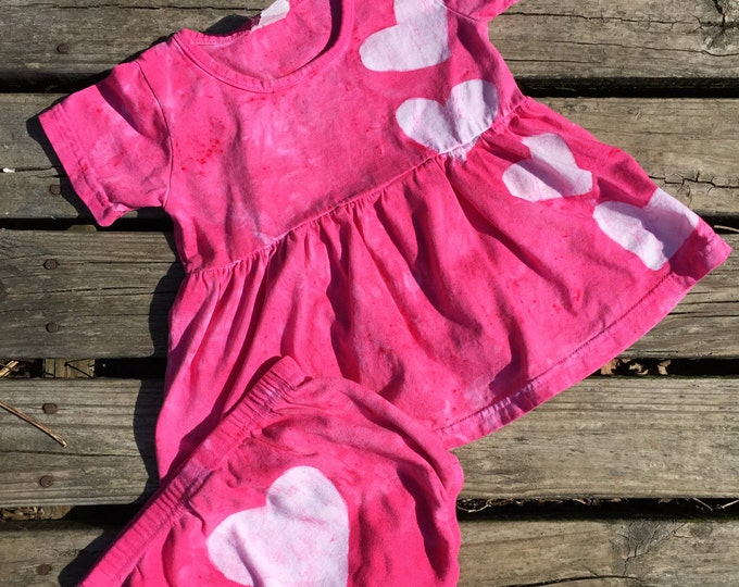 Pink Baby Dress, Baby Easter Dress, Pink Baby Dress Set, Pink Hearts Dress, Baby Dress, Baby Diaper Cover, Baby Girl Gift (18 months)