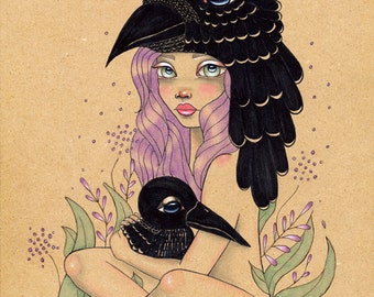 Thought and Memory crows ravens  Original Art Giclee fine art print 8x10