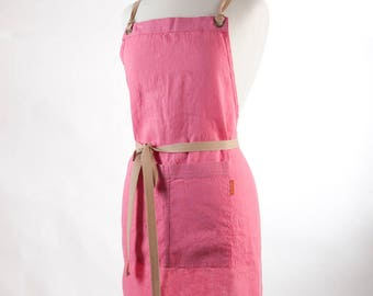 Linen Apron, Full Apron. 100%  Linen. Pink.