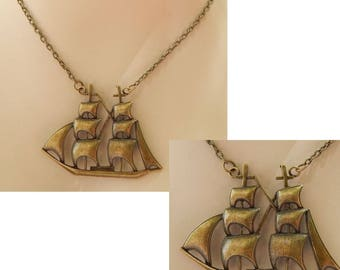 Gold Nautical Ship Pendant Necklace Jewelry Handmade Chain Adjustable Fashion Accessories