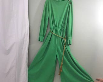 Vintage Mod 1960s  Green Velour Terry Cloth Wide Legged Palazzo Jumpsuit Loungewear M