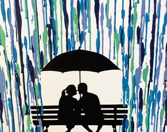 Housewarming Gifts for Couples, Melted Crayon Art, Nature Lover Gift, Rainy Day At The Park, Man and Woman Silhouette Art Wedding Gift 16x20