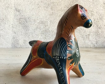 Vintage Mexican ceramic horse bank, horse piggy bank, horse statue, equine collectible, Mexican folk art, horse lover gift, hacienda decor