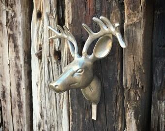 "Vintage 11"" metal deer head wall mount hook, elk antler hook, cabin decor farmhouse, library study decor, wall hook towel, buck head hook"