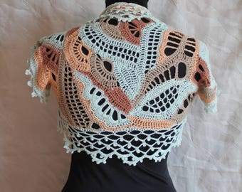Ready to ship Boho Chic Multicolor Colorful Lace  Freeform  Crochet  Cotton Shrug Bolero -  Summer  Fashion - Luxury , Unique - Size XS- S