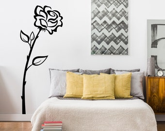 Rose Wall Decal   Flower Wall Sticker   Teen Bedroom Decor   Girl Decal