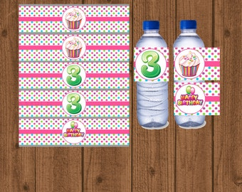 Cupcake Bottle Water Labels, 3rd Birthday Water Bottle Label, Birthday Party Water Bottle Labels, 3rd Birthday Decorations, Instant Download