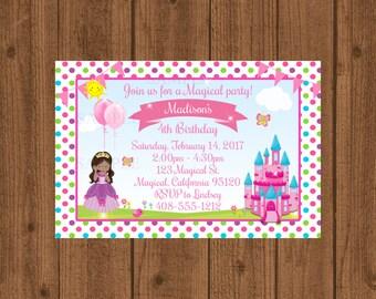 Princess Birthday Party Invitation, Princess Party Invitation, African American Princess, Magical Princess Invite, Girls Birthday Invitation