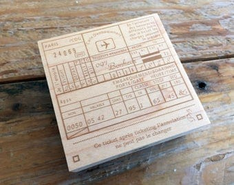 New-Japanese Wooden Rubber Stamps - Vintage / Antique Style Airline Ticket Stamp for Journaling, Scrapbooking, Packaging