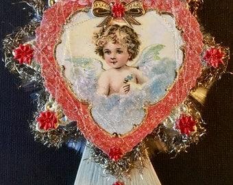 Handmade Vintage Look Victorian Valentine-German Angel Scrap, Spun Glass, Tinsel, Dresdens, Vintage Bouillion, Vintage Tinsel