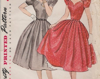Simplicity 3780 / Vintage 50s Sewing Pattern / Dress And Petticoat / Size 14 Bust 32