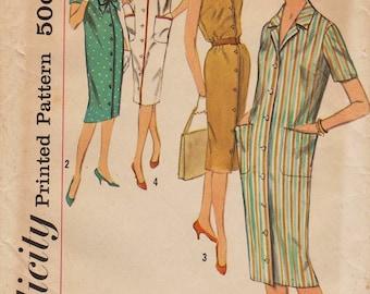 Simplicity 2807 / Vintage 50s Sewing Pattern / Dress Shirtdress / Bust 39