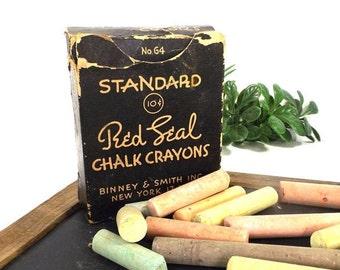 vintage 30s standard red seal chalk crayons no 64 binney & smith new york navy blue cardboard box storage prop display office teacher usa