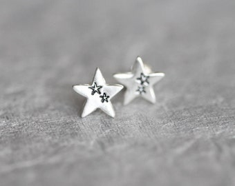 Tiny Silver Star Earrings, Tiny Star Studs, Small Star Stud Earrings, Sterling Silver Posts
